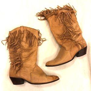 Dingo Fringe Leather Cowboy Boots in Tan Camel 8M